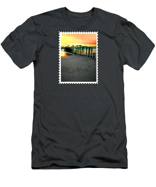Sea Gulls On Pilings  At Sunset Men's T-Shirt (Athletic Fit)