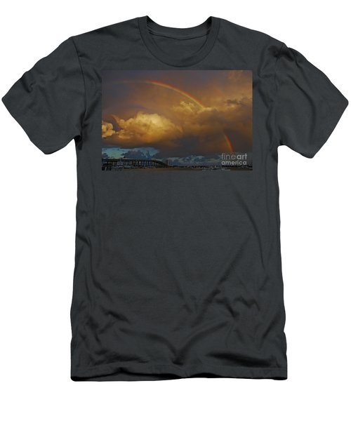 Men's T-Shirt (Slim Fit) featuring the photograph 2- Singer Island Stormbow by Rainbows
