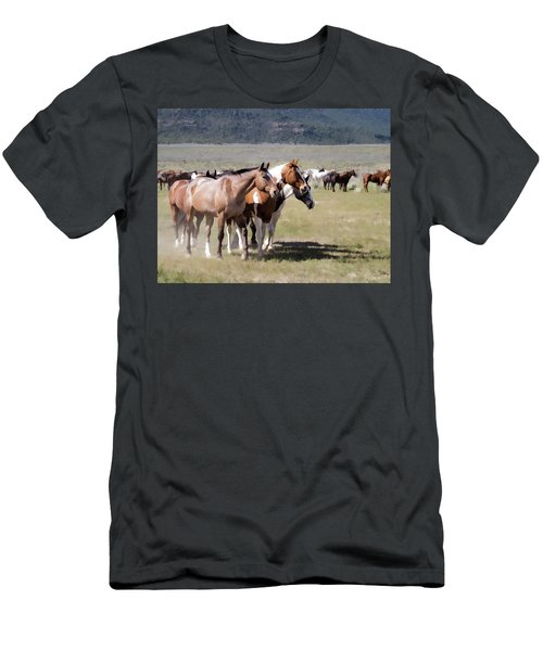 Men's T-Shirt (Athletic Fit) featuring the digital art Sombrero Ranch Horse Drive, An Annual Event In Maybell, Colorado by Nadja Rider