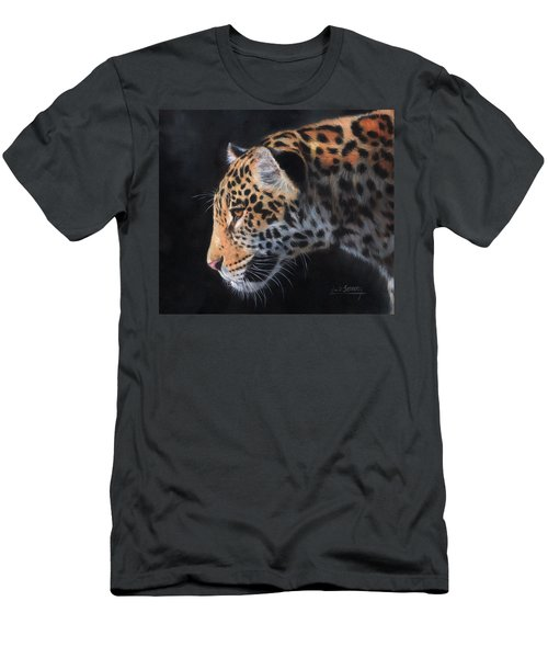 Men's T-Shirt (Slim Fit) featuring the painting South American Jaguar by David Stribbling