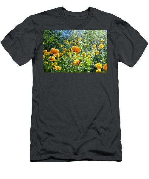 Spring Flowers In The Rain Men's T-Shirt (Slim Fit) by Tamara Sushko
