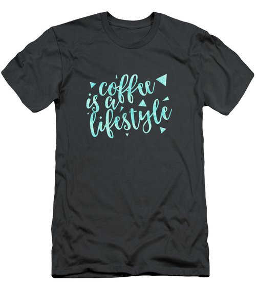 Text Art Coffee Is A Lifestyle Men's T-Shirt (Athletic Fit)