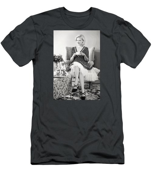 Men's T-Shirt (Athletic Fit) featuring the digital art Vintage Val Black And White by Jill Wellington