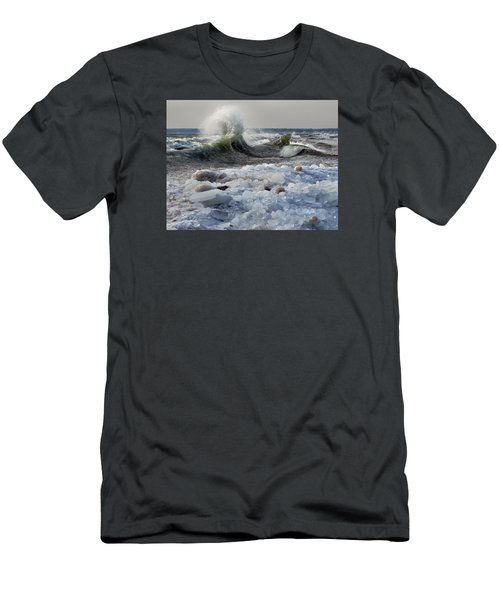 Winter Waves At Whitefish Dunes Men's T-Shirt (Athletic Fit)