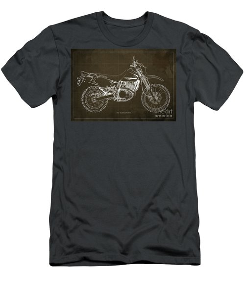 2012 Suzuki Dr650se Motorcycle Blueprint Brown Background Awesome Gift For Men Men's T-Shirt (Athletic Fit)