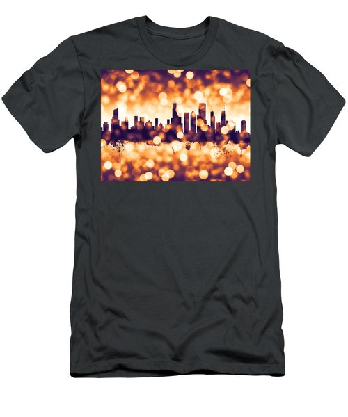Chicago Illinois Skyline Men's T-Shirt (Slim Fit) by Michael Tompsett