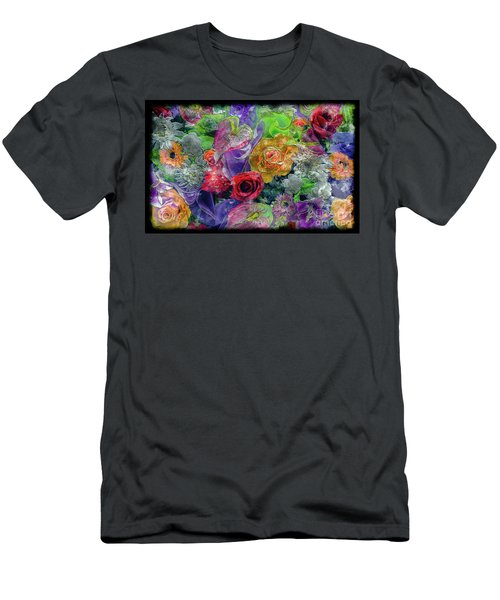 21a Abstract Floral Painting Digital Expressionism Men's T-Shirt (Athletic Fit)