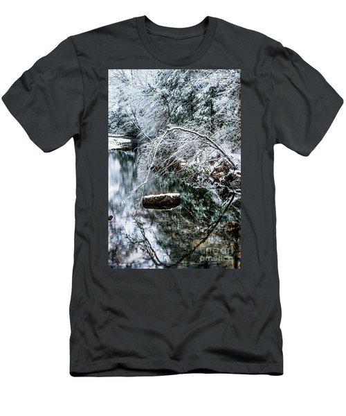 Men's T-Shirt (Slim Fit) featuring the photograph Winter Along Cranberry River by Thomas R Fletcher