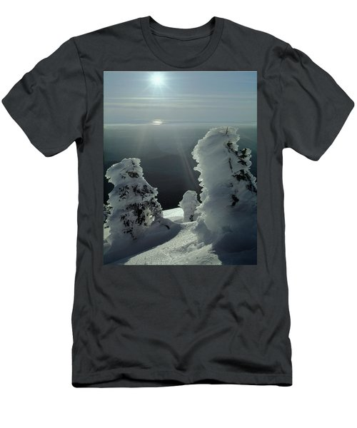 2m4415 A Ice Covered Trees Over Puget Sound Men's T-Shirt (Athletic Fit)