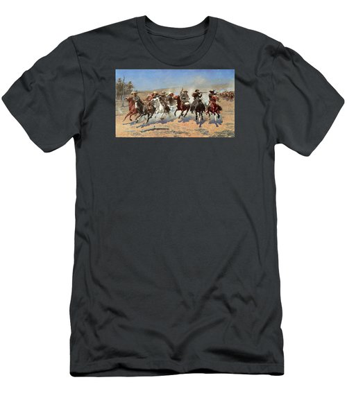 A Dash For The Timber Men's T-Shirt (Slim Fit) by Frederic Remington