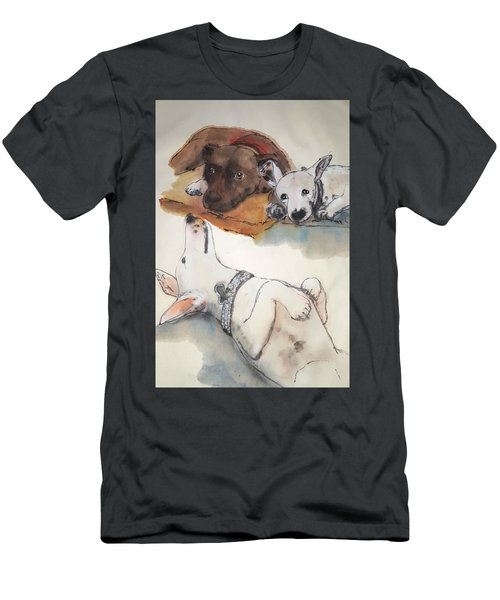 Dogs Dogs  Dogs Album Men's T-Shirt (Slim Fit) by Debbi Saccomanno Chan