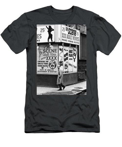 Film Homage Hard Core 1979 Porn Theater The Combat Zone Boston Massachusetts 1977 Men's T-Shirt (Athletic Fit)
