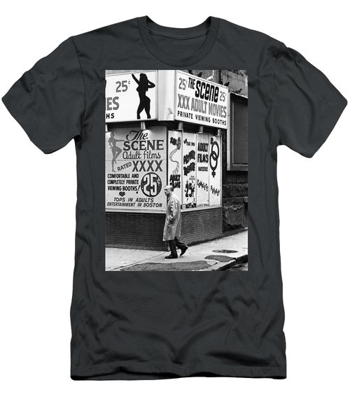 Film Homage Hard Core 1979 Porn Theater The Combat Zone Boston Massachusetts 1977 Men's T-Shirt (Athletic Fit)