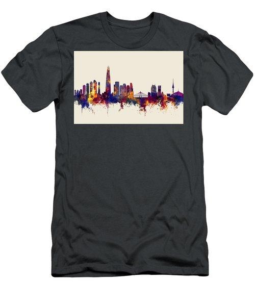 Men's T-Shirt (Slim Fit) featuring the digital art Seoul Skyline South Korea by Michael Tompsett
