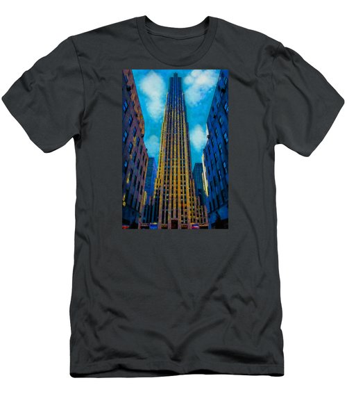 Men's T-Shirt (Slim Fit) featuring the painting 30 Rock by Kai Saarto