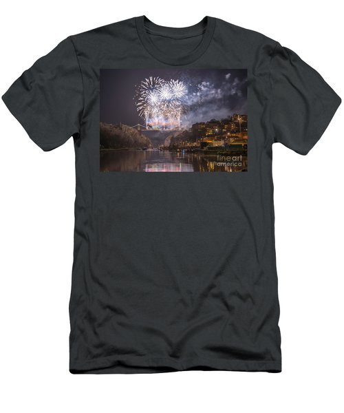 Clifton Suspension Bridge Fireworks Men's T-Shirt (Slim Fit) by Colin Rayner