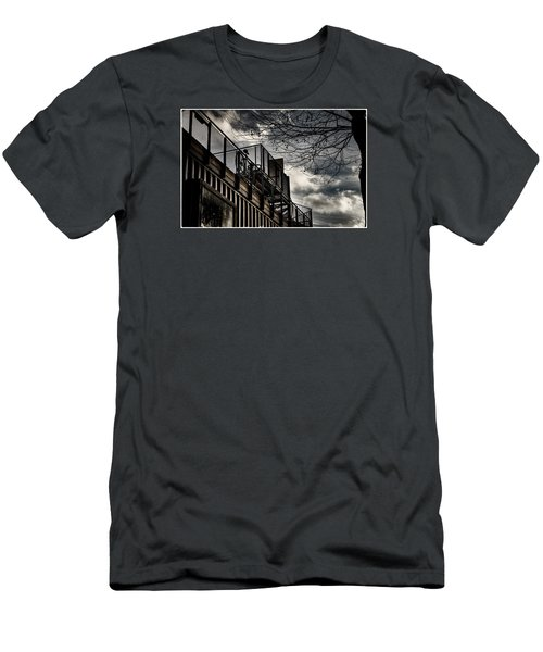 Men's T-Shirt (Slim Fit) featuring the photograph Pop Brixton - Spiral Staircase - Industrial Style by Lenny Carter