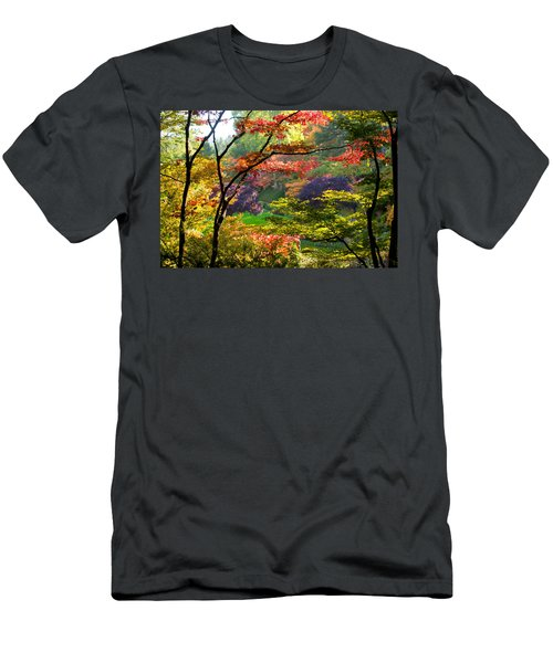 Trees In A Garden, Butchart Gardens Men's T-Shirt (Athletic Fit)