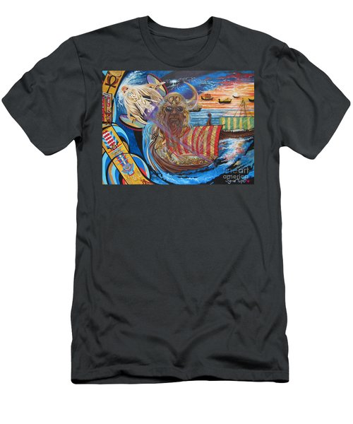 Men's T-Shirt (Slim Fit) featuring the painting 500 Empires Never Die - Odin by Sigrid Tune