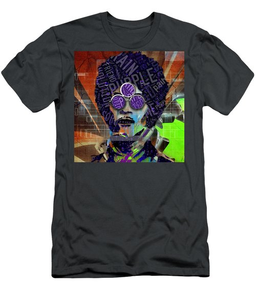 Men's T-Shirt (Athletic Fit) featuring the mixed media Prince Purple Rain by Marvin Blaine