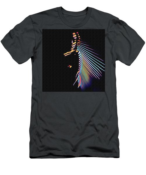 6580s-nlj Woman In Shadows By Window Zebra Striped Rendered In Composition Style Men's T-Shirt (Athletic Fit)