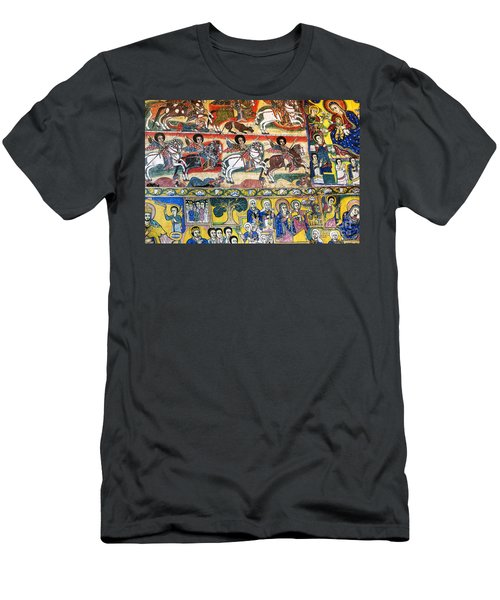 Ancient Orthodox Church Interior Painted Walls In Gondar Ethiopi Men's T-Shirt (Athletic Fit)