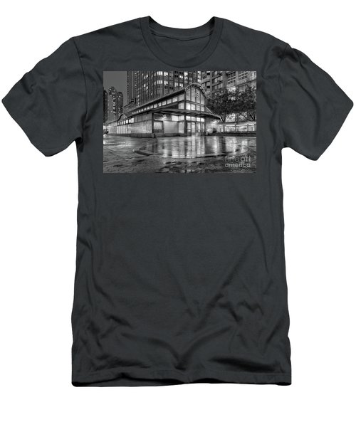 72nd Street Subway Station Bw Men's T-Shirt (Slim Fit) by Jerry Fornarotto
