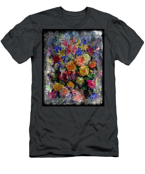 7a Abstract Floral Painting Digital Expressionism Men's T-Shirt (Athletic Fit)