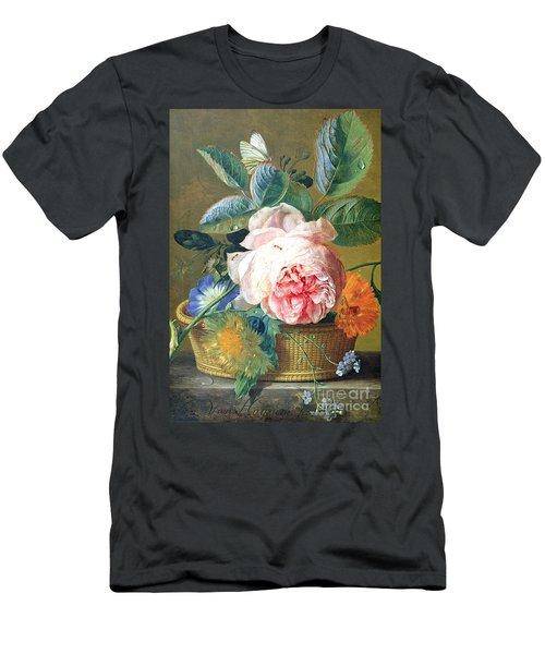A Basket With Flowers Men's T-Shirt (Slim Fit) by Jan van Huysum