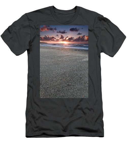 A Beach During Sunset With Glowing Sky Men's T-Shirt (Athletic Fit)