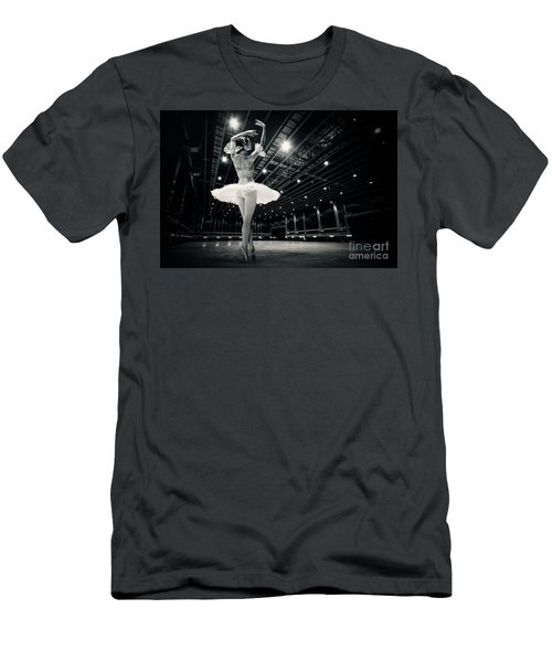Men's T-Shirt (Athletic Fit) featuring the photograph A Beautiful Ballerina Dancing In Studio by Dimitar Hristov