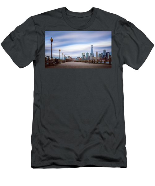 Men's T-Shirt (Slim Fit) featuring the photograph A Boardwalk In The City by Eduard Moldoveanu