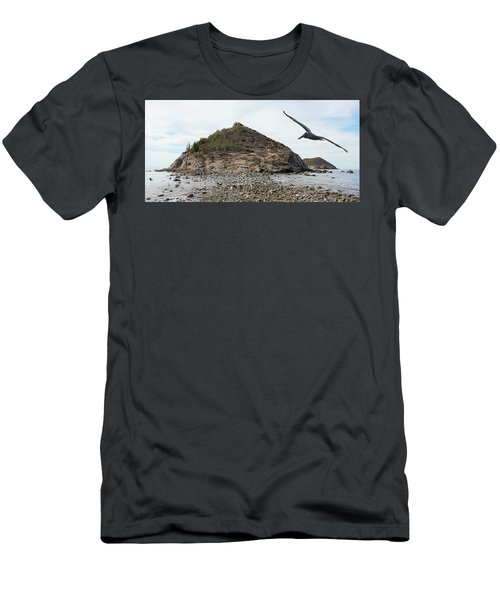 A Brown Pelican Does A Flyby Of A Cactus Covered Desert Island  Men's T-Shirt (Athletic Fit)
