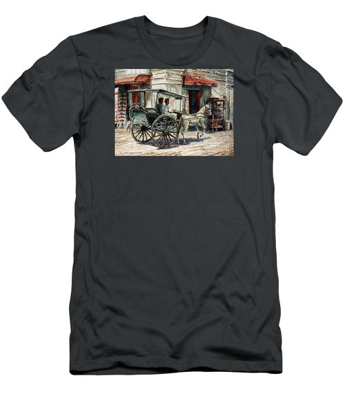A Carriage On Crisologo Street Men's T-Shirt (Slim Fit) by Joey Agbayani