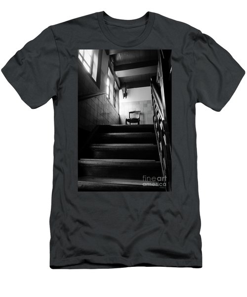 A Chair At The Top Of The Stairway Bw Men's T-Shirt (Slim Fit) by RicardMN Photography