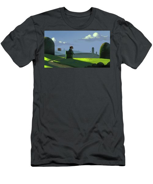 Men's T-Shirt (Slim Fit) featuring the painting A Contemplative Plumber by Michael Myers
