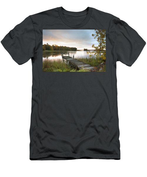 A Dock On A Lake At Sunrise Near Wawa Men's T-Shirt (Athletic Fit)