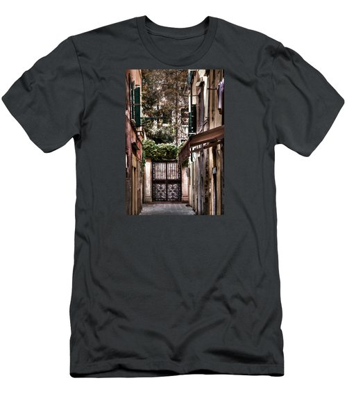 Men's T-Shirt (Slim Fit) featuring the photograph A Doorway In Venice With Oil Effect by Tom Prendergast
