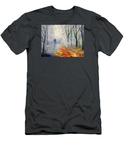 Men's T-Shirt (Slim Fit) featuring the painting A Fall Walk by Trilby Cole