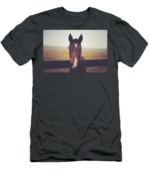 Men's T-Shirt (Slim Fit) featuring the photograph A Foggy Christmas Day by Shane Holsclaw