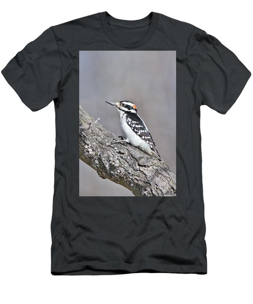 Men's T-Shirt (Slim Fit) featuring the photograph A Male Downey Woodpecker 1120 by Michael Peychich