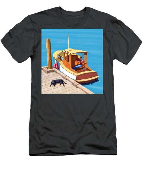 A Man, A Dog And An Old Boat Men's T-Shirt (Athletic Fit)