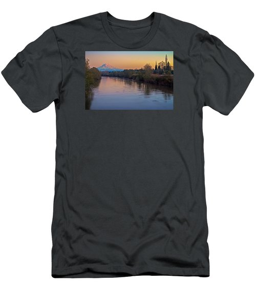 A Mt Tahoma Sunset Men's T-Shirt (Slim Fit) by Ken Stanback