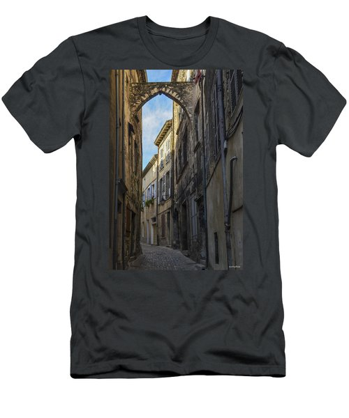 Men's T-Shirt (Slim Fit) featuring the photograph A Narrow Street In Viviers by Allen Sheffield