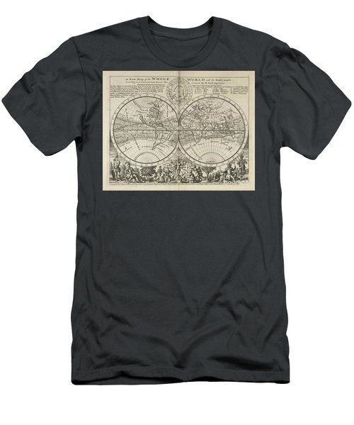 A New Map Of The Whole World With Trade Winds Herman Moll 1732 Men's T-Shirt (Athletic Fit)