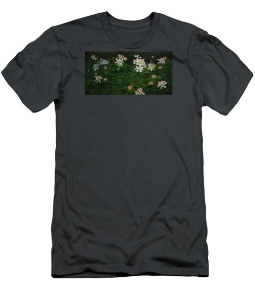 Men's T-Shirt (Slim Fit) featuring the painting A Pond Full Of Water Lilies And Youtube Video by Roena King