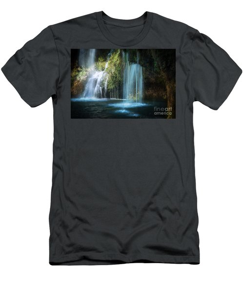 A Resting Place At Natural Falls Men's T-Shirt (Slim Fit) by Tamyra Ayles