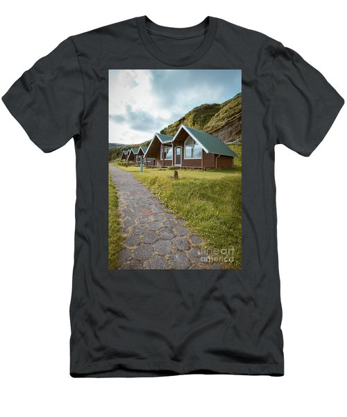 Men's T-Shirt (Athletic Fit) featuring the photograph A Row Of Cabins In Iceland by Edward Fielding