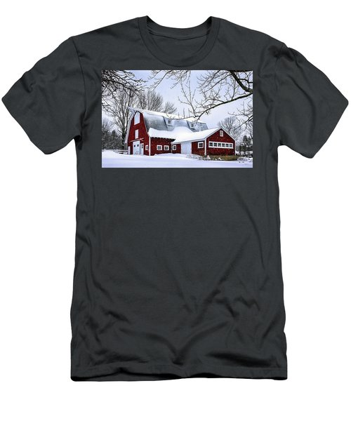 A Snowy Day At Grey Ledge Farm Men's T-Shirt (Slim Fit) by Betty Denise