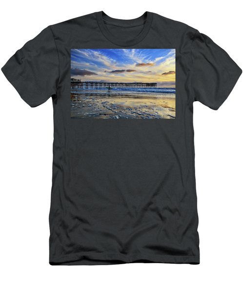 A Surfer Heads Home Under A Cloudy Sunset At Crystal Pier Men's T-Shirt (Athletic Fit)